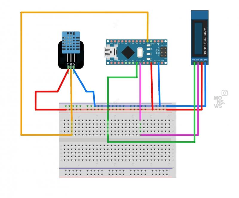 Схема для сборки Мониторинг температуры и влажности с использованием Arduino Nano, DHT11 и OLED 0,91-дюймового дисплея